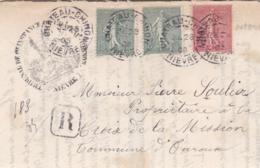 Divers Semeuses Sur Recommandé Provisoire De Chateau-Chinon - Marcophilie (Lettres)