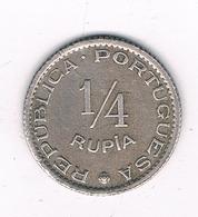 1/4 RUPIA 1952 GOA (portugees India) INDIA /2328/ - Inde
