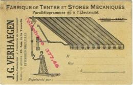 Carte Publicité. Etterbeek-Bruxelles. Stores Et Tentes Mécaniques Et Electricité. Verhaegen, Serrurier-Constructeur. - Publicité