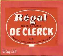 Etiquette De Biere :Regal DeClerck HAZEBROUCK - Bière