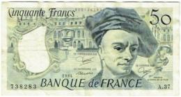 Billet. France. 50 Francs. Quentin De La Tour. 1984. - 50 F 1976-1992 ''Quentin De La Tour''