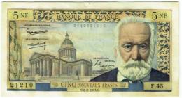 Billet. France. 5 Nouveaux Francs. 5 NF. Victor Hugo. 2-2-1961; - 1959-1966 Nouveaux Francs