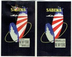 SABENA. Lot De 3 Pièces. 2 Etiquettes De Bagage Et 1 Epinglette (Pin's) - Baggage Etiketten