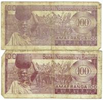 Billet. Rwanda. 100 Francs. Lot De 2 Billets. 1-7-1964 Et 1-7-1965 - Rwanda