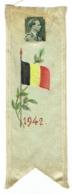Signet Fait Main En Soie, Roi Léopold II Et Drapeau Belge, 1942. - Marque-Pages