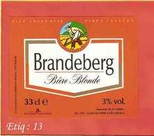 Etiquette De Biere :Brasserie De St Omer : Brandeberg - Bière