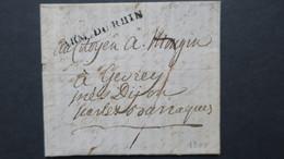 Lettre Marque Postale Griffe Linéaire Armée Du Rhin Bâle Fevrier 1800 Pour Gevrey Avec Texte Voir Scans - Postmark Collection (Covers)