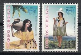 BOLIVIA 1997 - TRAJES REGIONALES - AMERICA UPAEP - YVERT Nº 965/966** - Textile