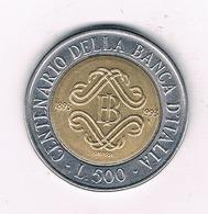 500 LIRE 1993 ITALIE /2338/ - 1946-…: Republik