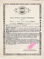 1944 / FIFC Forces Intérieures Françaises / ( Non FFI ) Citation Honneur Patrie / Emourgeon Sabotages - 1939-45