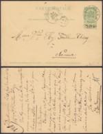 """BELGIQUE EP 5c VERT  OBL RELAIS """"BUDINGEN""""23/09/1903 VERS NAMUR (DD) DC-2372 - Postwaardestukken"""
