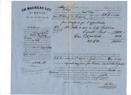 99/ TRANSPORT BALLES SUCRE BATEAU .ILE REUNION 1866.CONNAISSEMENT; - Vieux Papiers