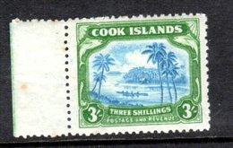Cook Islands 1945 - 3/- Greenish-blue & Green Wmk 98 SG145 MNH Cat £42 SG2018 - See Full Description Below - Cook