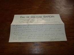 FF6  Document Commercial  Eau De Cologne Bardin Jean Bardin & Fils Bruxelles Pharmacien Parfumeur De S.M. La Reine 1899 - Belgique