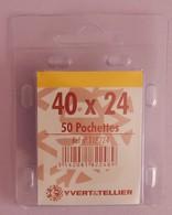 50 POCHETTES SIMPLE SOUDURE TRANSPARENTES 40X24 POUR TYPE MERSON LARGEUR - Timbres
