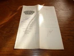Document  Commercial Facture Billault Chenal Douilhet Paris 1899  Prod. Chimiques Et Pharmaceutiques - Belgique