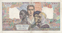 Billet 5000 F Empire Français Du 10-10-1945 FAY 47.47 Alph. V.1575 - 1871-1952 Circulated During XXth