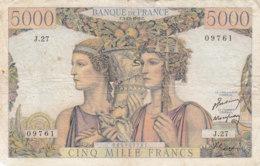 Billet 5000 F Terre Et Mer Du 3-11-1949 FAY 48.02 Alph. J.27 - 5 000 F 1949-1957 ''Terre Et Mer''