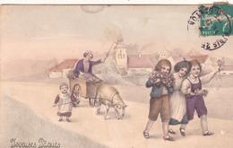 CPA  Enfants Brebis Carriole Joyeuses Pâques Viennoise V.K. Vienne N° 4164 Illustrateur (2 Scans) - Pâques