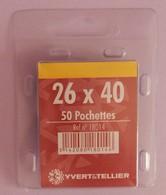 50 POCHETTES SIMPLE SOUDURE FOND NOIR  26X40 POUR TIMBRES COMMEMORATIFS LARGEUR - Timbres