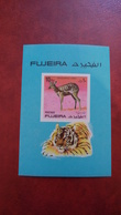 Fujeira 1971 - Wild Animals - Imperf Sheet Mi 81 B MNH With A Small Smudge - Tiger Deer - Fujeira