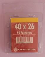 50 POCHETTES SIMPLE SOUDURE FOND NOIR 40X26 POUR TIMBRES COMMEMORATIFS LARGEUR - Timbres