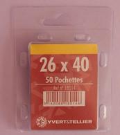 50 POCHETTES SIMPLE SOUDURE FOND NOIR 26X40 POUR TIMBRES COMMEMORATIFS HAUTEUR - Francobolli