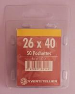 50 POCHETTES SIMPLE SOUDURE FOND NOIR 26X40 POUR TIMBRES COMMEMORATIFS HAUTEUR - Sellos