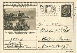 Ganzsache Entier Hindenburg Lernt Deutschland Kennen Hilfswerk Mutter Kind NSV Wasserburg Am Bodensee Dresden - Allemagne