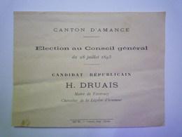 GP 2019 - 641  Election Au Conseil Général  BULLETIN De VOTE En Faveur De H. DRUAIS  Maire De FAVERNEY  1895    XXX - Old Paper