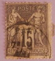 FRANCE TYPE SAGE YT 77 OBLITERE(UNE DENT MANQUANTE AU NORD EST) ANNEE 1876 - 1876-1898 Sage (Type II)