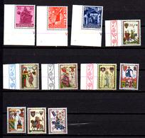 1962   Lichtenstein, Noël, Troubadours, 370 / 372 – 373 / 376 – 383 / 386**, Cote 12 €, - Nuevos