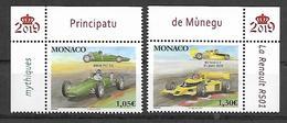 Monaco 2019 - Yv N° 3171 & 3172 ** Voitures  Mythiques (BRM P57 V8 & RENAULT RS01) - Neufs