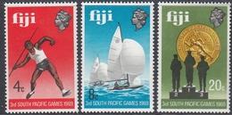 Fiji 1969 - 3rd South Pacific Games, Javelin, Sailing, Podium - Mi 252-254 ** MNH - Fiji (...-1970)