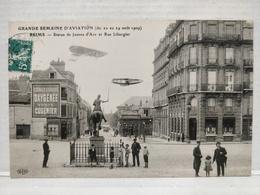 Reims. 1909. Semaine De L'Aviation. Statue De Jeanne D'Arc Et Rue Libergier - Reims