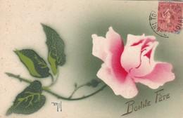 """CARTE FANTAISIE """" BONNE FÊTE """". UNE ROSE . ILLUSTRATION SIGNEE """" MH """". ANNEE 1932 - Fêtes - Voeux"""