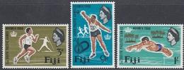 Fiji 1966 - 2nd South Pacific Games: Athletics, Javelin, Shot Put, Swimming - Mi 198-200 ** MNH - Fiji (...-1970)