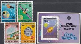 Cook Islands 1983 - World Communications Year: Satellites - Mi 927-930 + Block 136 ** MNH - Cook