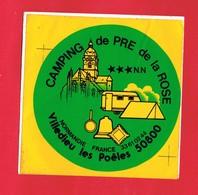 1 Autocollant CAMPING DE PRE DE LA ROSE VILLEDIEU LES POELES - Autocollants