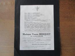 LAMBERSART MADAME VEUVE BERQUET NEE AMELINA ROLIER DECEDEE LE 9 JUILLET 1935 DANS SA QUATRE VINGT SEPTIEME ANNEE - Décès