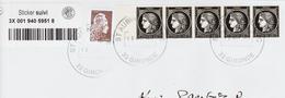 France, 170ème Annivers Du Timbre Sur Lettre Au Tarif TB Bande De 5 - Marcophilie (Lettres)