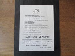 LOUVIGNIES-BAVAY TELESPHORE LEPOINT DECEDE LE 10 AVRIL 1954 DANS SA 85me ANNEE - Décès