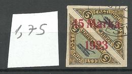 ESTLAND ESTONIA 1923 Michel 45 B I (1,75 Mm) O Signed K. Kokk - Estland