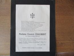 CHARLEVILLE 19 RUE DU PETIT BOIS MADAME CHARLES CHAUMONT NEE VIRGINIE-JOSEPHINE DAUMAL DECEDEE LE 21 JANVIER 1923 66e AN - Décès