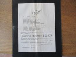 PREUX AU BOIS AU CALVAIRE MONSIEUR BENJAMIN DEUDON DECEDE LE 22 JUIN 1909 DANS SA 85e ANNEE - Décès