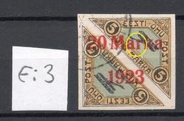Estonia 1923 Michel 44 Bb E: 3 ERROR Abart O Signed A. Teetsov - Estland