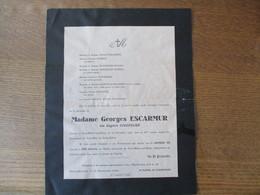 SAINT HILAIRE SUR HELPE MADAME GEORGES ESCARMUR NEE EUGENIE CAUDERLIER DECEDEE LE 19 DECEMBRE 1945 DANS SA 81me ANNEE - Décès
