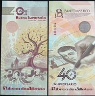 "MEXICO 2009 BANKNOTE FACTORY COMMEMORATIVE ""specimen Non Denominated"" Banknote, Mint Crisp, Hard To Find - Mexico"