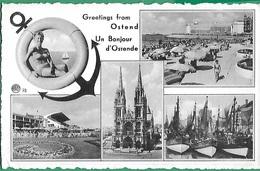 ! - Belgique - Ostende - Un Bonjour De ... - Avec Cachet De L'exposition De Bruxelles 1958 - Oostende