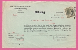 LAND_ UND FORSTWIRTSCHAFTLICHE UNFALLVERSICHERUNG,MAHNUG.1937. - Covers & Documents